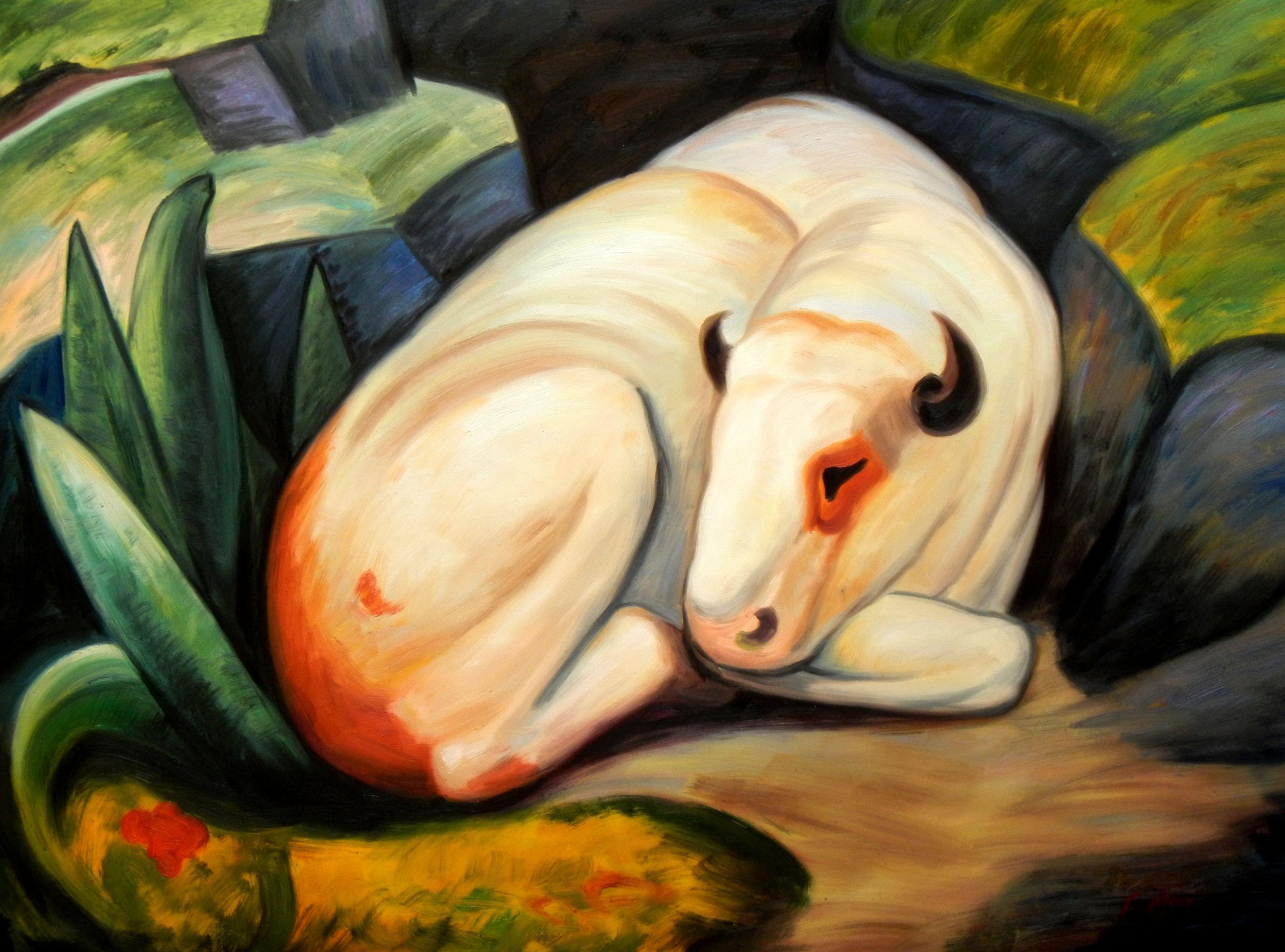 Franz Marc - Der weiße Bulle k93542 90x120cm Expressionismus Ölgemälde