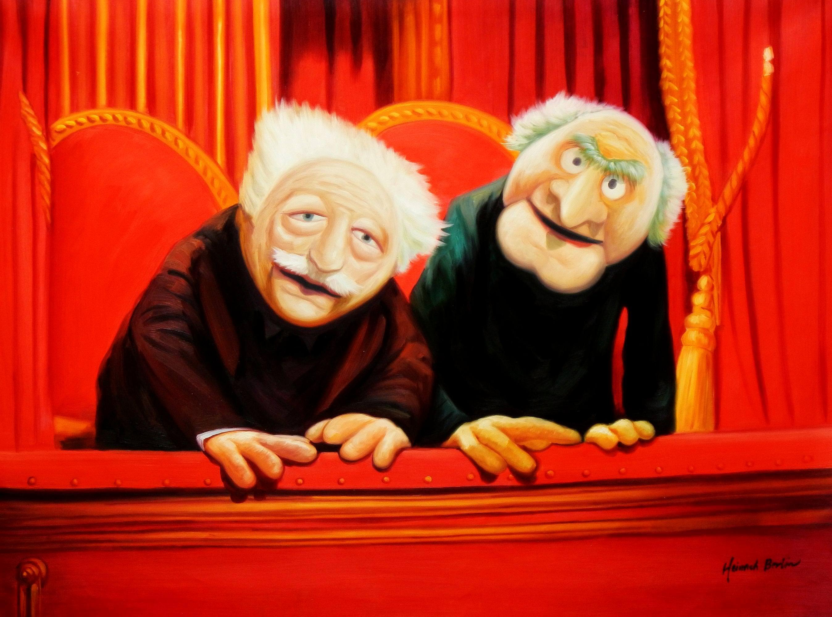 Muppet Opas Waldorf & Statler Pop Art k93545 90x120cm großartiges Ölbild