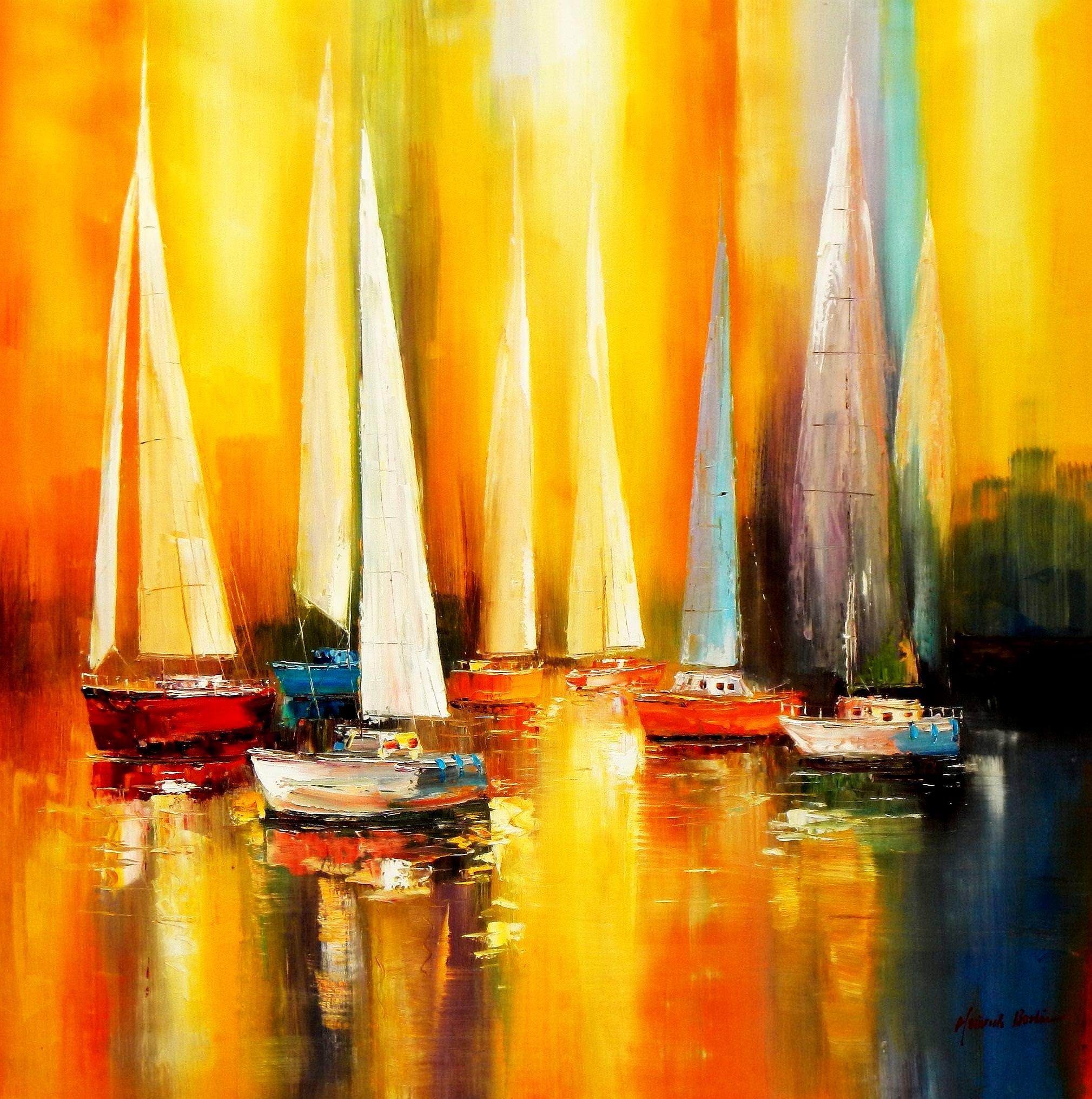 Segelboote auf dem Gardasee m93551 120x120cm modernes Gemälde handgemalt Museumsqualität