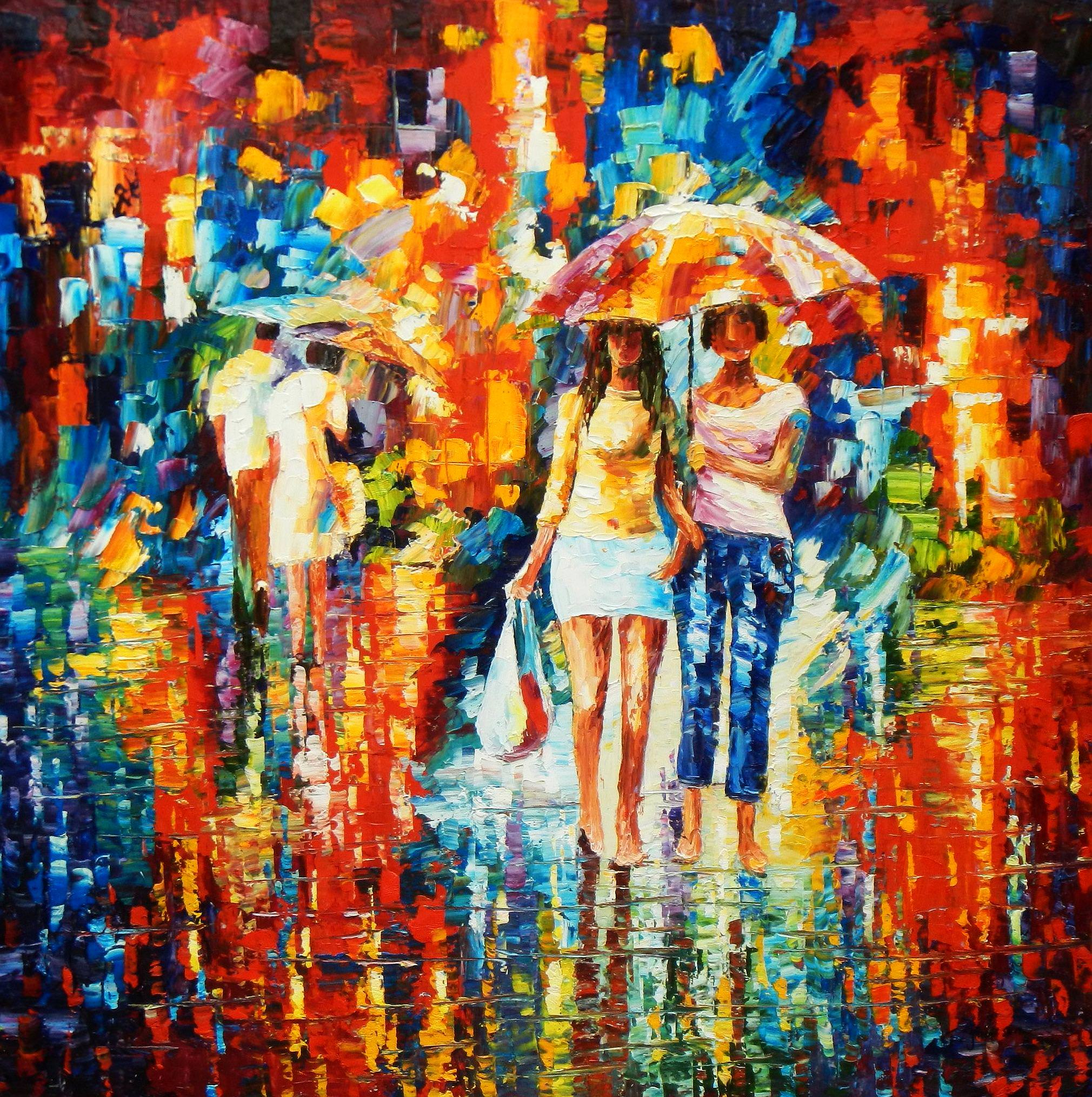 Modern Art - Umbrella walk m93566 120x120cm modernes Ölgemälde