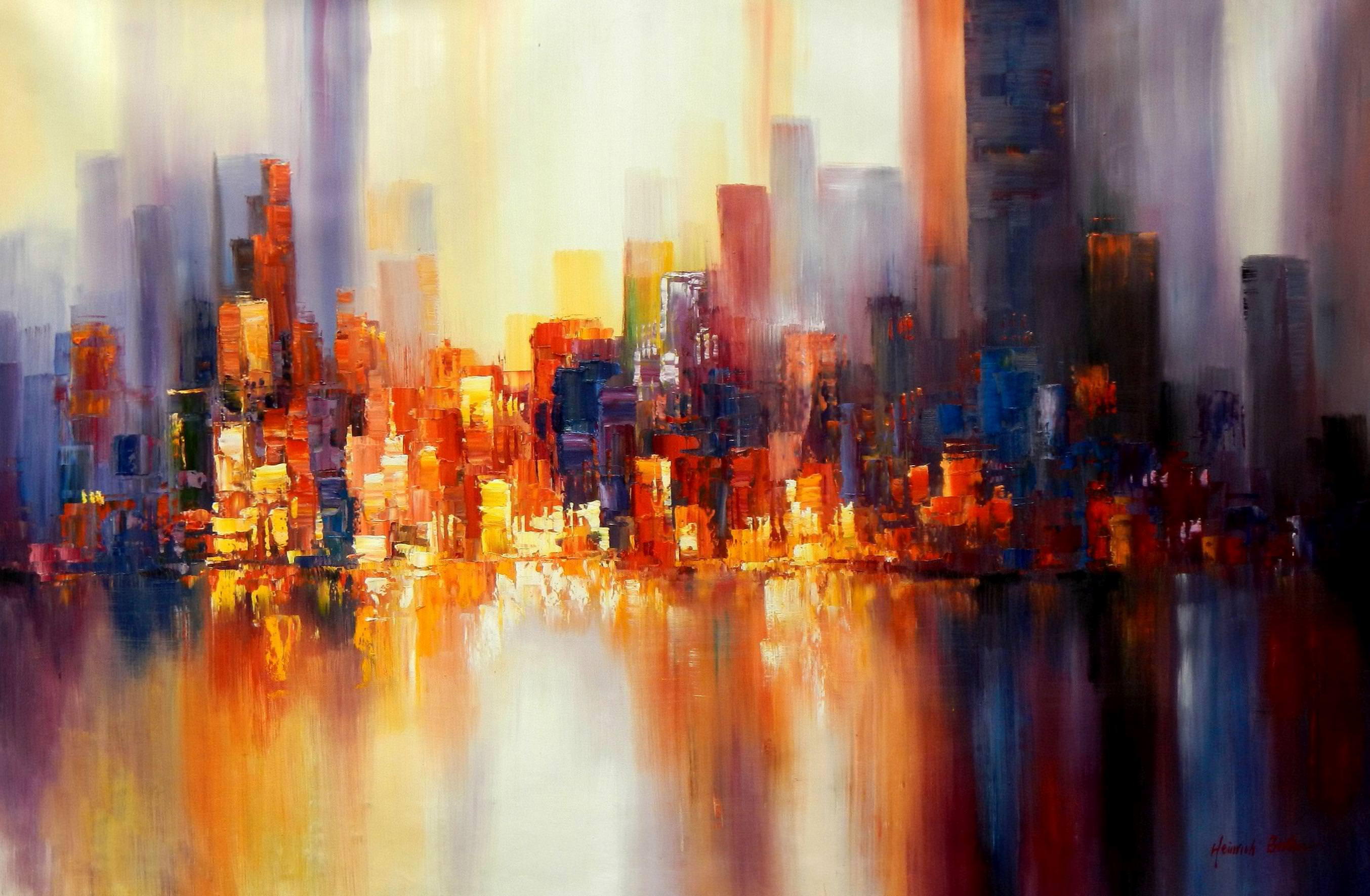 Abstrakt New York Skyline am Abend p93583 120x180cm imposantes Ölgemälde