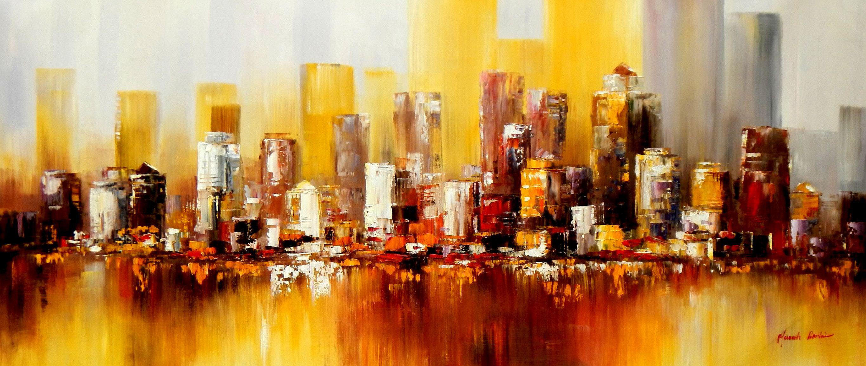 Abstrakt New York Manhattan Skyline im Herbst t93574 75x180cm abstraktes Ölbild