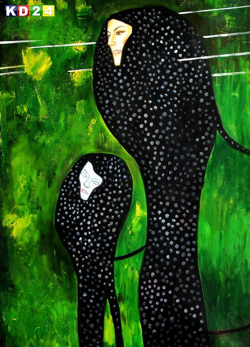 Gustav Klimt - Wasserschlangen II i87204 G 80x110cm imposantes Ölgemälde handgemalt