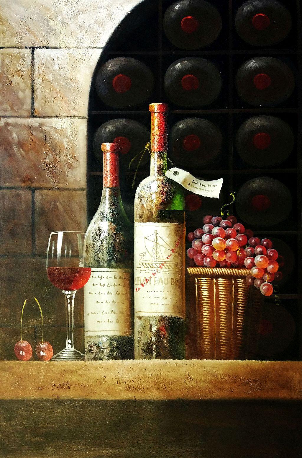 Klassisches Stillleben mit Weinflaschen d92291 60x90cm exzellentes Ölbild