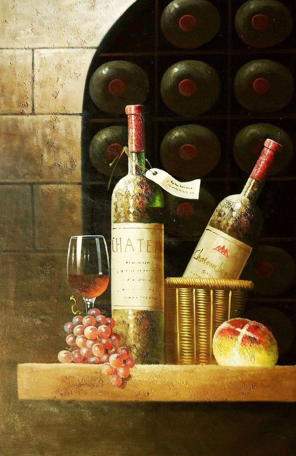 Klassisches Stillleben mit Weinflaschen d92295 G 60x90cm exzellentes Ölbild