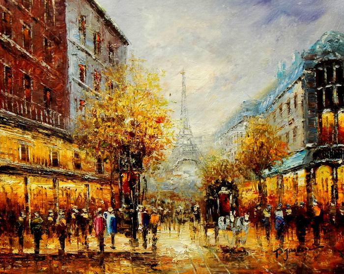 Modern Art - Paris Spaziergang im Herbst c92606 50x60cm Ölbild handgemalt