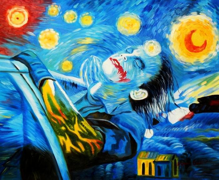 Modern Art - Joker meets starry night c92607 G 50x60cm exquisites Ölbild