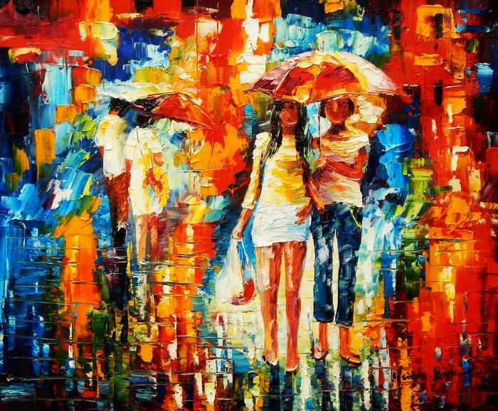 Modern Art - Umbrella walk c92630 50x60cm modernes Ölgemälde