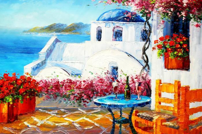 Modern Art - Gartenterasse auf Santorin d92653 60x90cm Ölbild handgemalt