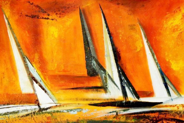 Modern Art - Sailing journey P  d92660 60x90cm abstraktes Ölbild