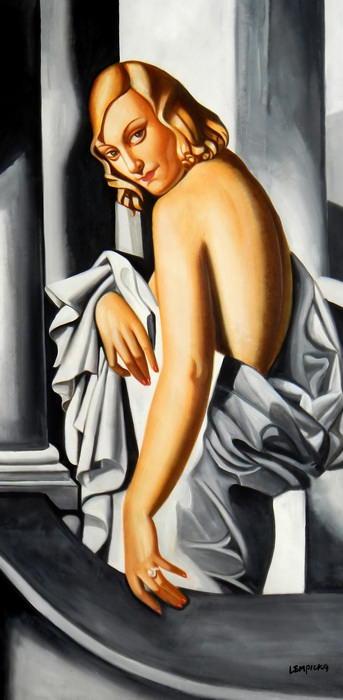 Homage of T. de Lempicka - Portrait der Marjorie Ferry f92687 60x120cm Ölbild handgemalt