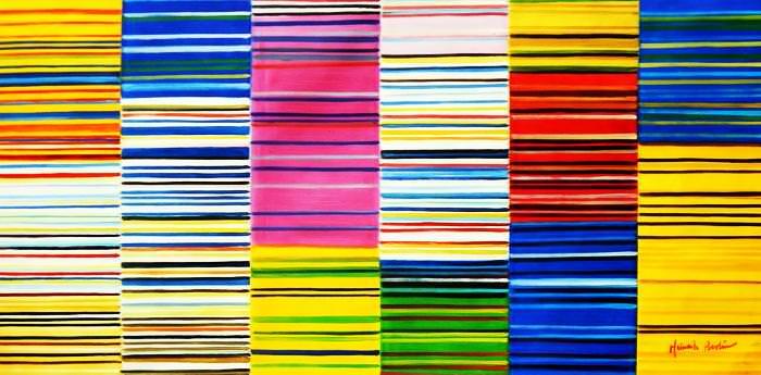 Modern Art - Lorenz stripes homage of Paul Smith f92693 60x120cm Ölgemälde
