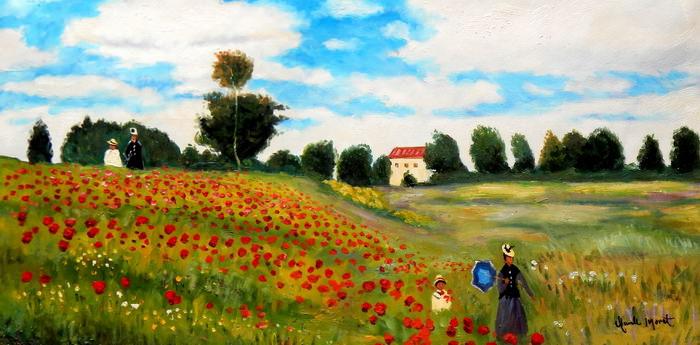 Claude Monet - Mohnfeld bei Argenteuil f92697 60x120cm exzellentes Ölbild