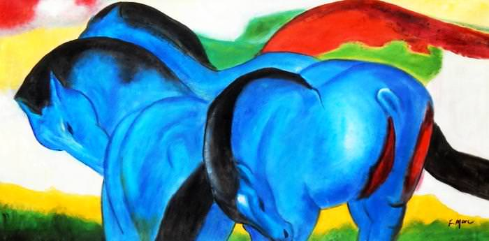 Franz Marc - Große blaue Pferde f92699 60x120cm exzellentes Ölgemälde