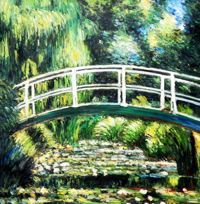 Claude Monet - Brücke über dem Seerosenteich g92709 80x80cm Ölbild handgemalt