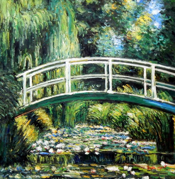 Claude Monet - Brücke über dem Seerosenteich g92710 80x80cm Ölbild handgemalt