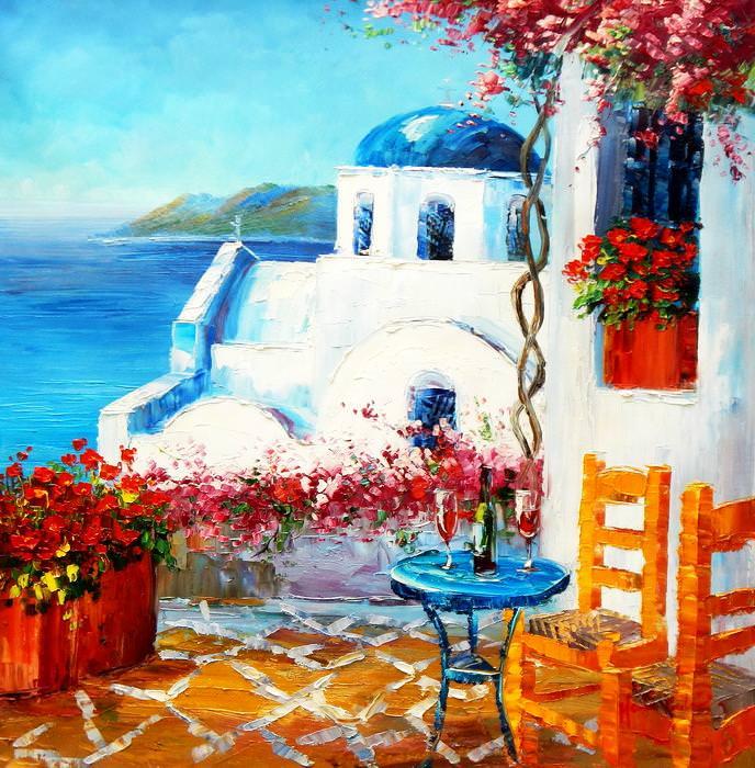 Modern Art - Gartenterasse auf Santorin g92713 80x80cm Ölbild handgemalt