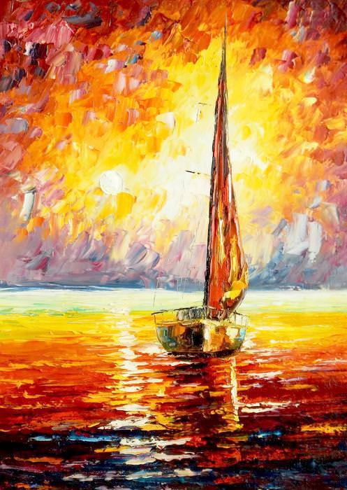 Modern Art - Sonnenuntergang bei Sylt i92743 80x110cm exzellentes Ölgemälde