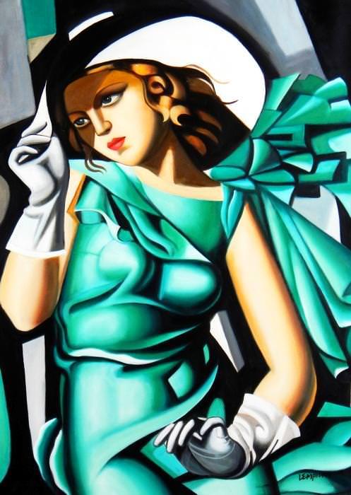 Homage to T. de Lempicka - Mädchen in Grün mit Handschuhen i92745 80x110cm Ölbild