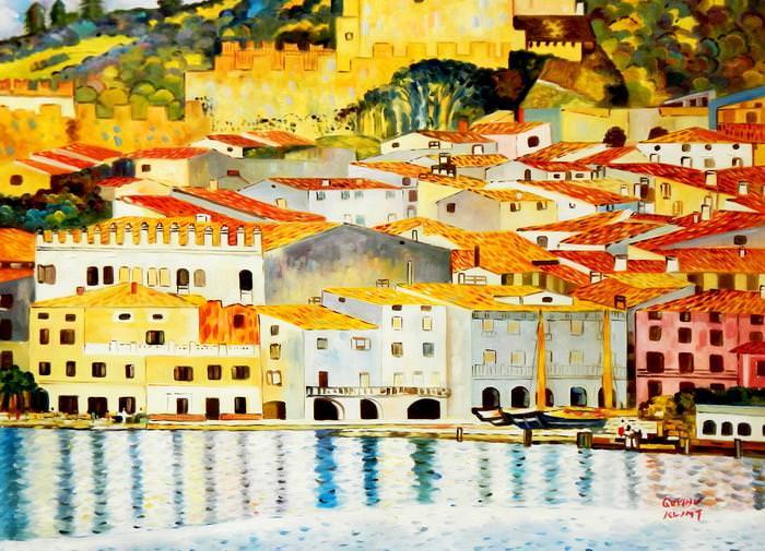 Gustav Klimt - Malcesine am Gardasee i92749 80x110cm Ölbild handgemalt
