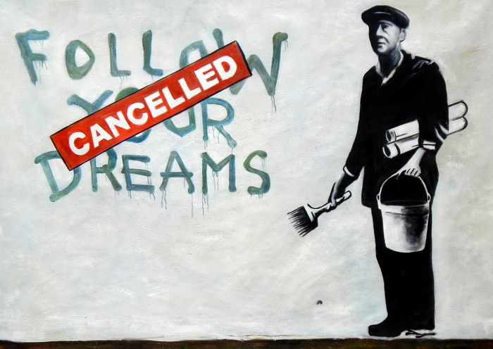 Homage to Banksy - Follow your Dreams i92753 80x110cm exquisites Ölbild