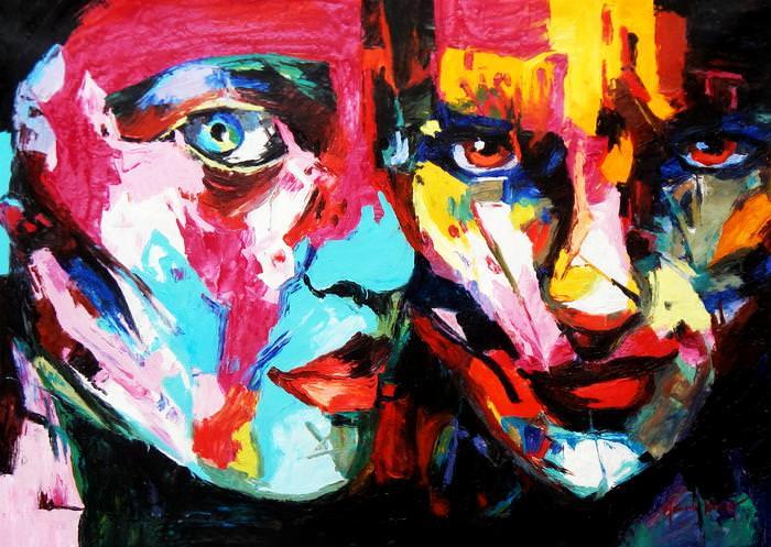 Modern Art - Die Aufmerksamkeit i92755 80x110cm beeindruckendes Ölgemälde