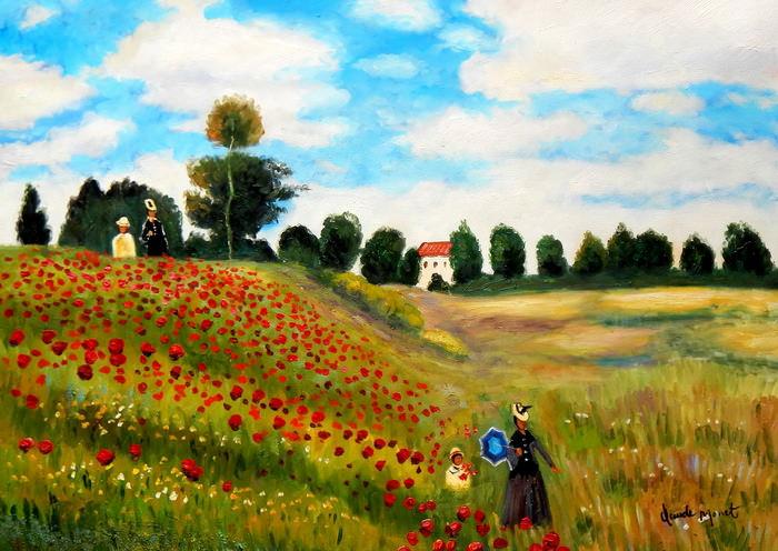 Claude Monet - Mohnfeld bei Argenteuil i92758 80x110cm exzellentes Ölbild