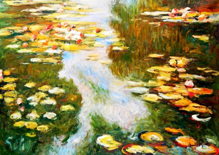 Claude Monet - Seerosen im Licht i92761 80x110cm exquisites Ölbild