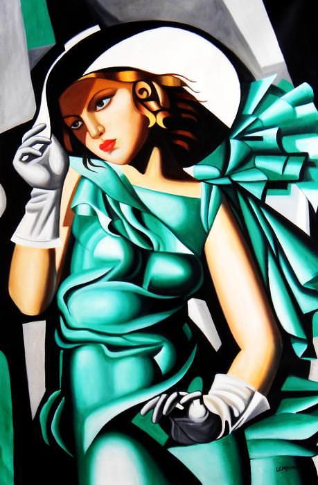 Homage to T. de Lempicka - Mädchen in Grün mit Handschuhen p92809 120x180cm Ölbild