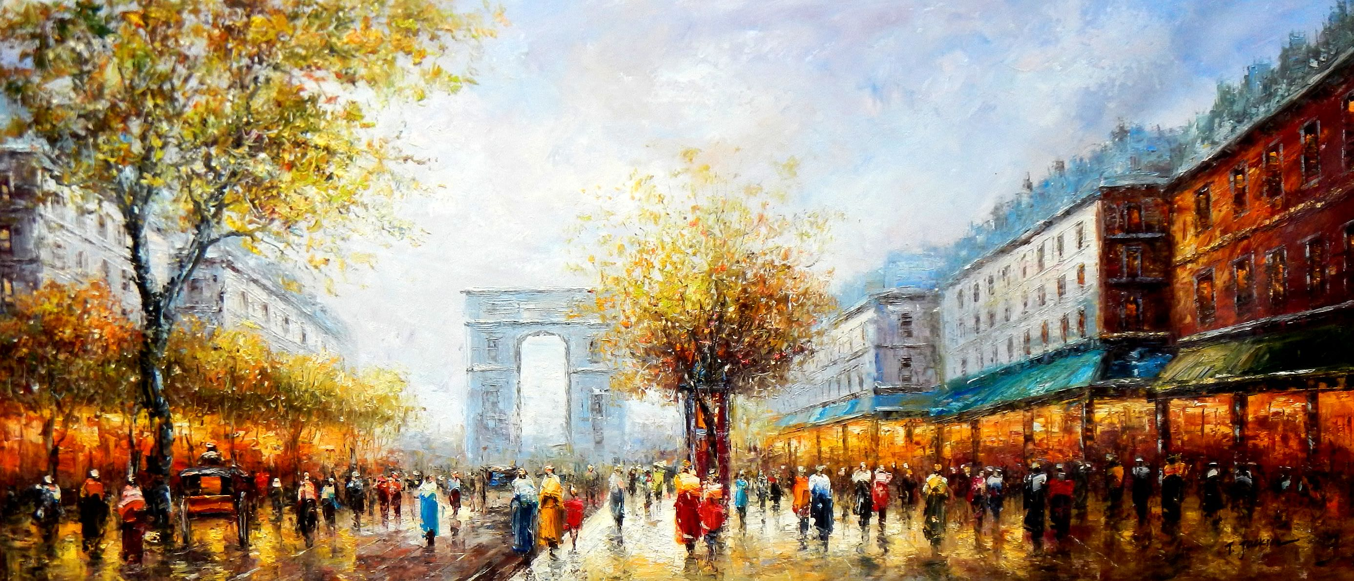 Modern Art - Sommer am Arc de Triomphe Paris t92803 75x180cm Ölbild handgemalt