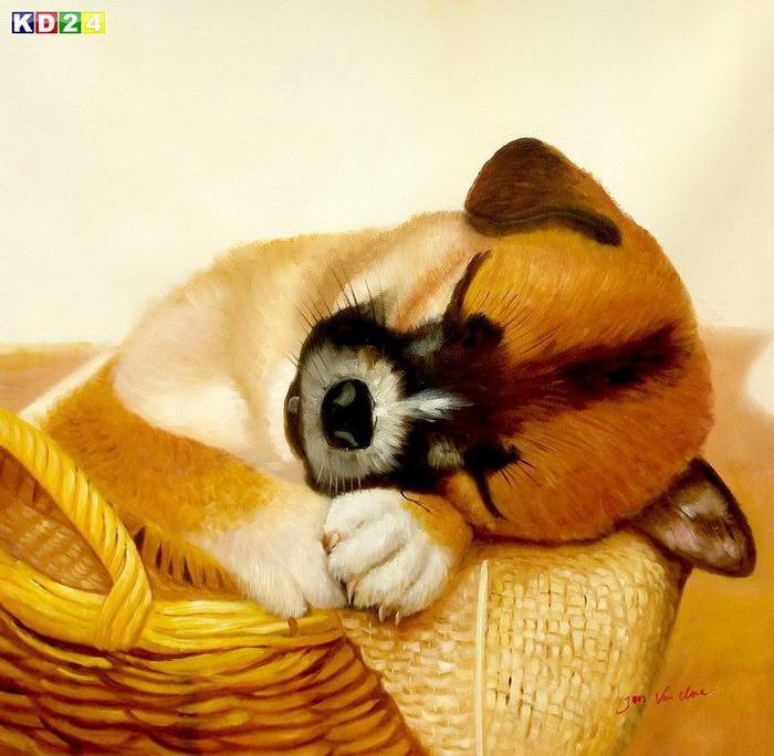 Modern Art - Gesicht eines träumenden Hundes g82808 80x80cm putziges Ölbild