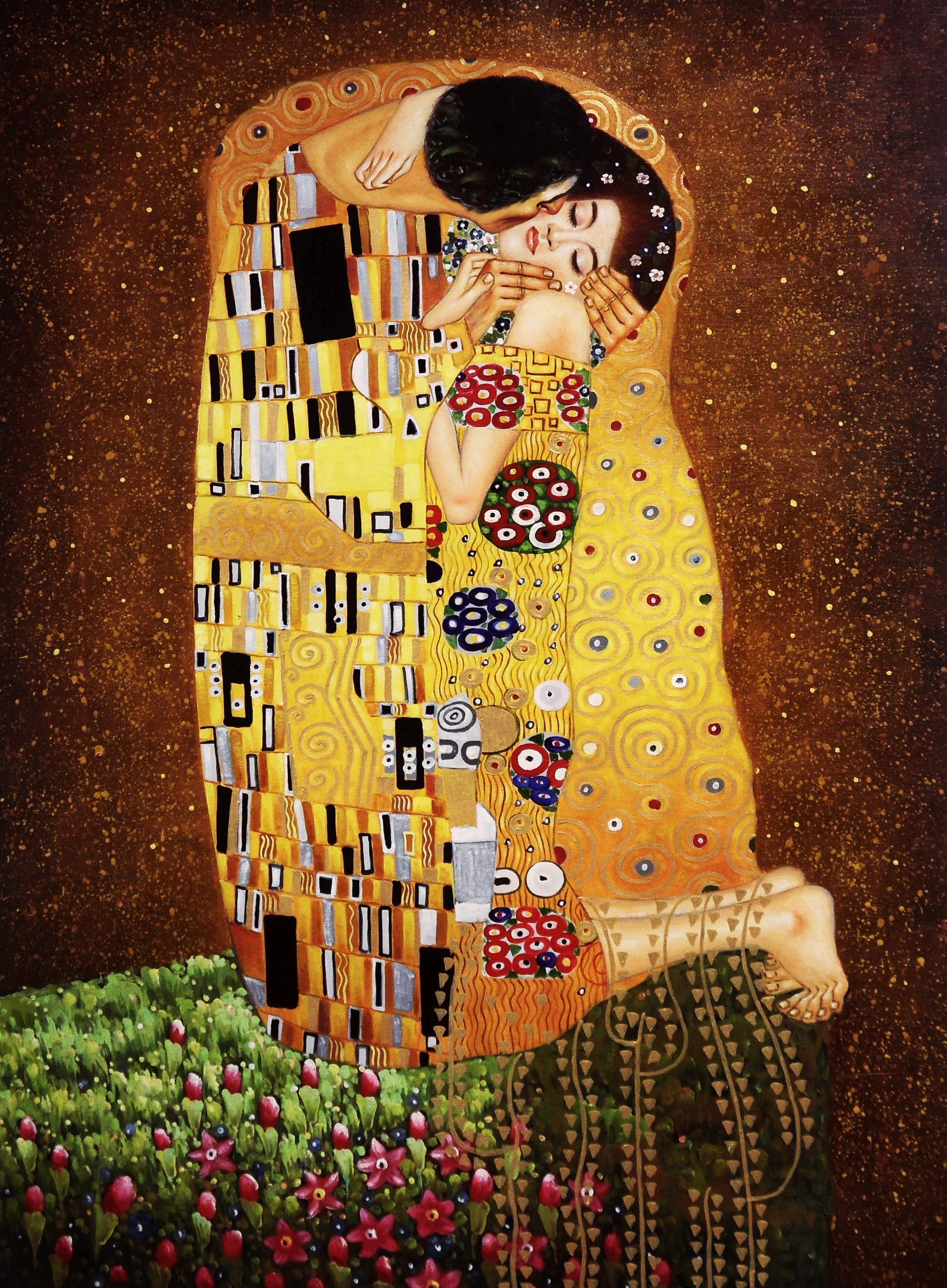 Gustav Klimt - Der Kuss k95375 90x120cm Jugendstil Ölgemälde handgemalt