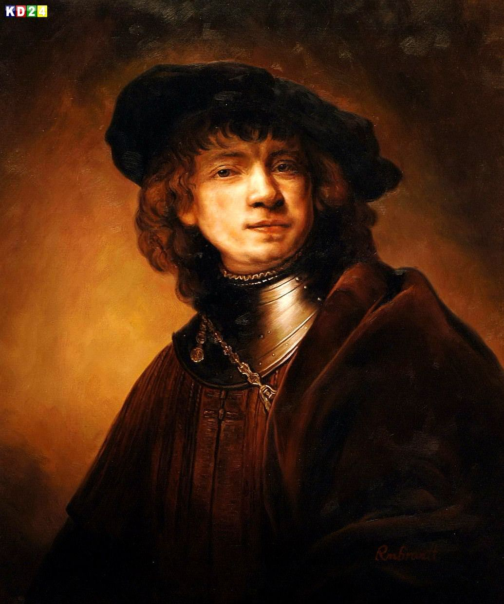 Rembrandt - Selbstportrait als junger Mann c81952 50x60cm exzellentes Ölgemälde Museumsqualität