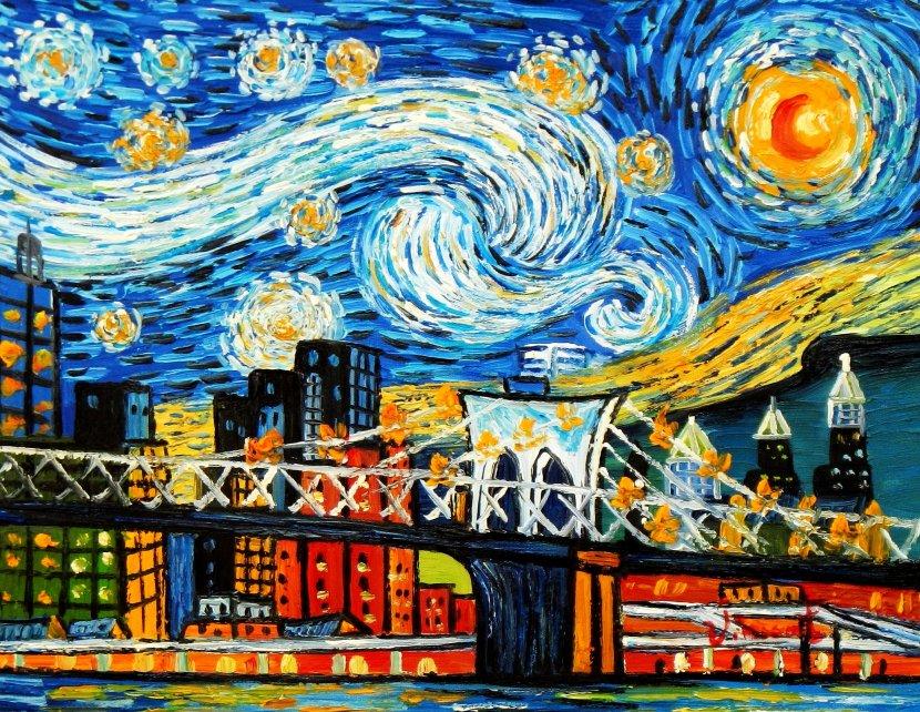Vincent v. Gogh - Homage Sternennacht New York edition a95461 30x40cm Ölbild
