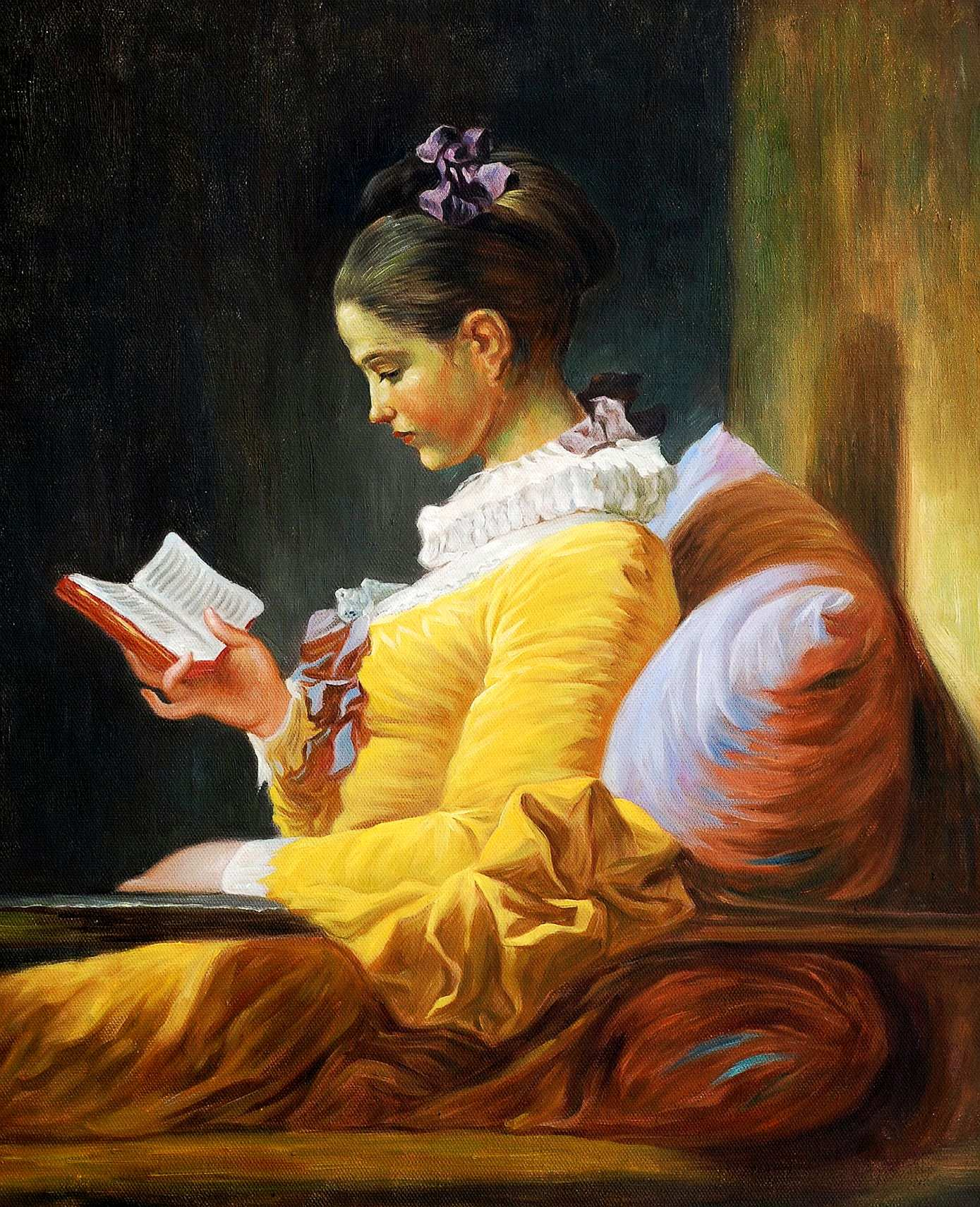Jean Honoré Fragonard - Lesendes Mädchen b95713 40x50cm exzellentes Ölbild Museumsqualität