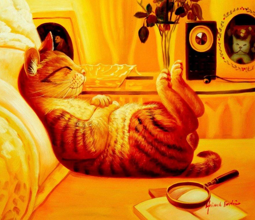 Modern Art - The chilling cat c95485 50x60cm putziges Ölgemälde handgemalt