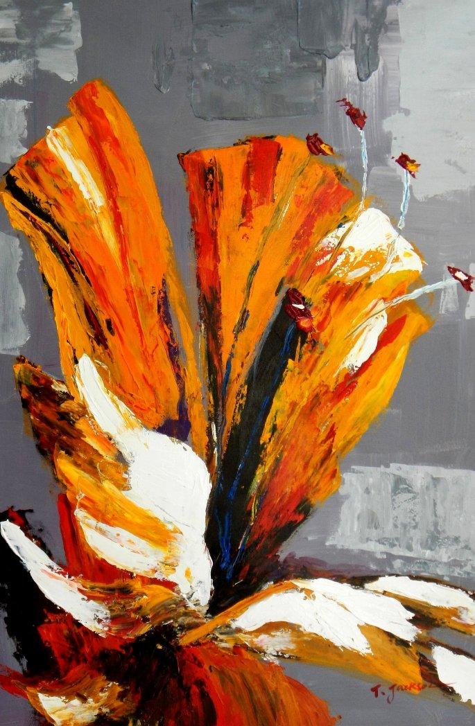Abstract - yellow orchid d95511 60x90cm exzellentes Ölbild