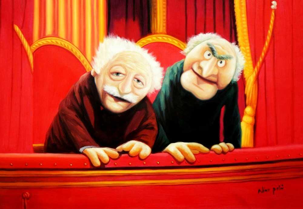 Muppet Opas Waldorf & Statler Pop Art d95526 60x90cm großartiges Ölbild