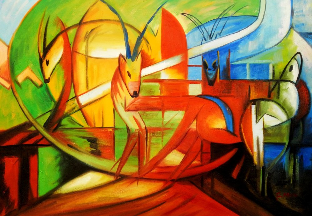 Franz Marc - Gazellen d95527 60x90cm Expressionismus Ölgemälde