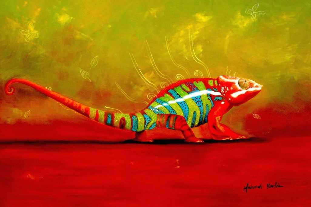 Modern Abstract - The colored chameleon d95535 60x90cm exzellentes Ölgemälde