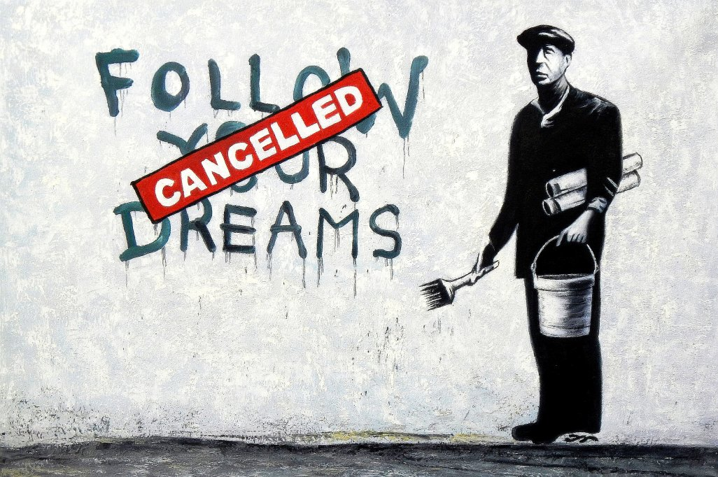Homage to Banksy - Follow your Dreams d95540 60x90cm exquisites Ölbild
