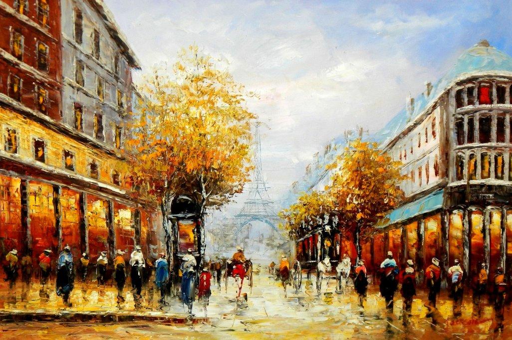 Modern Art - Paris Spaziergang im Herbst d95545 60x90cm Ölbild handgemalt