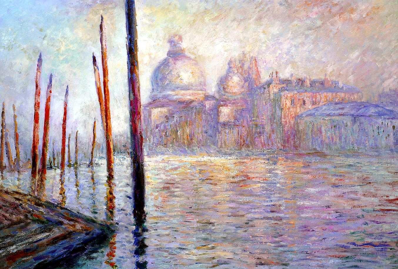 Claude Monet - Blick auf Venedig d95716 60x90cm exzellentes Ölgemälde handgemalt Museumsqualität
