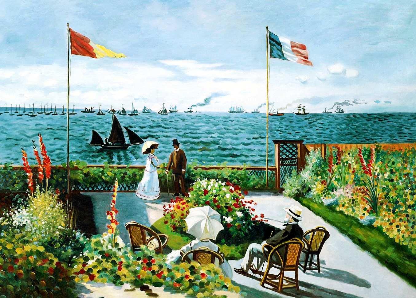 Claude Monet - Terrasse bei Sainte Adresse d95717 60x90cm exquisites Ölgemälde Museumsqualität