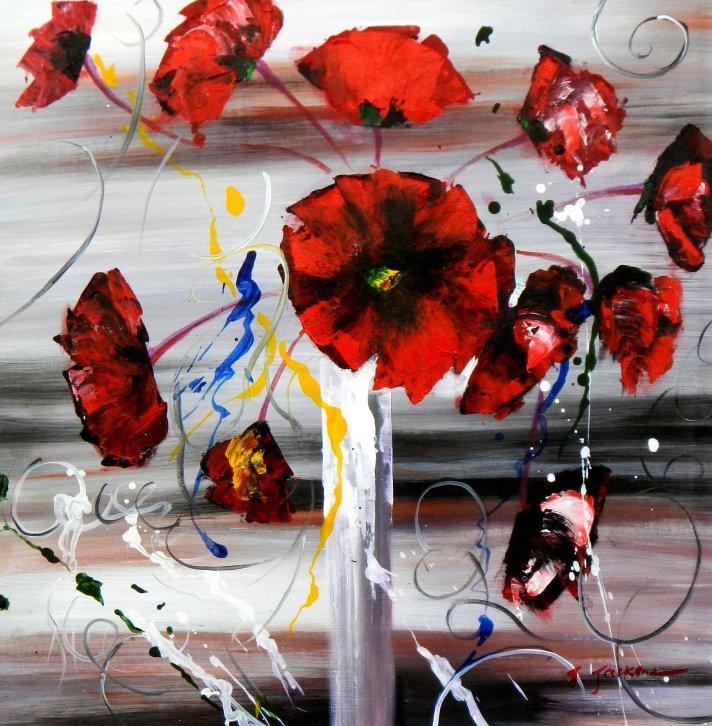 Abstrakt - Buntes Blumenvasen Stillleben e95553 60x60cm modernes Ölgemälde