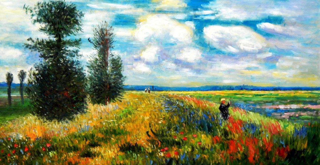 Claude Monet - Mohnblumenfeld bei Argenteuil f95567 60x120cm Ölbild handgemalt