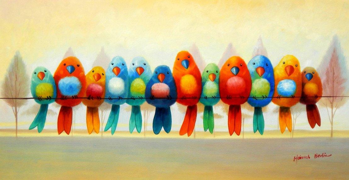 Modern Art - Lucky Birds f95568 60x120cm lustiges Ölgemälde