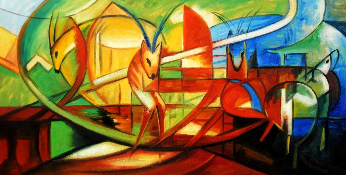 Franz Marc - Gazellen f95570 60x120cm Expressionismus Ölgemälde