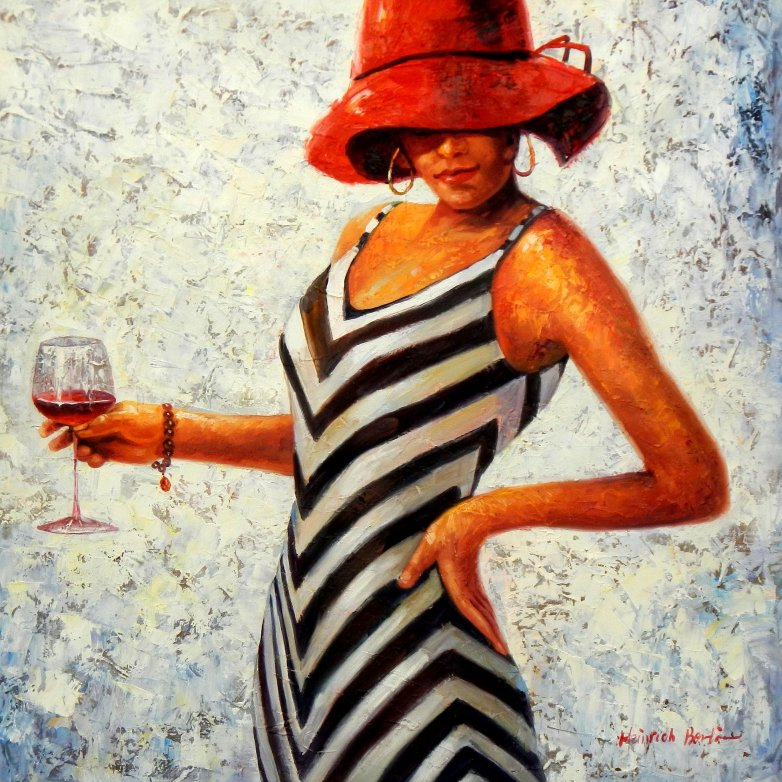 Modern Art - Lady in striped dress g95604 80x80cm Ölbild handgemalt