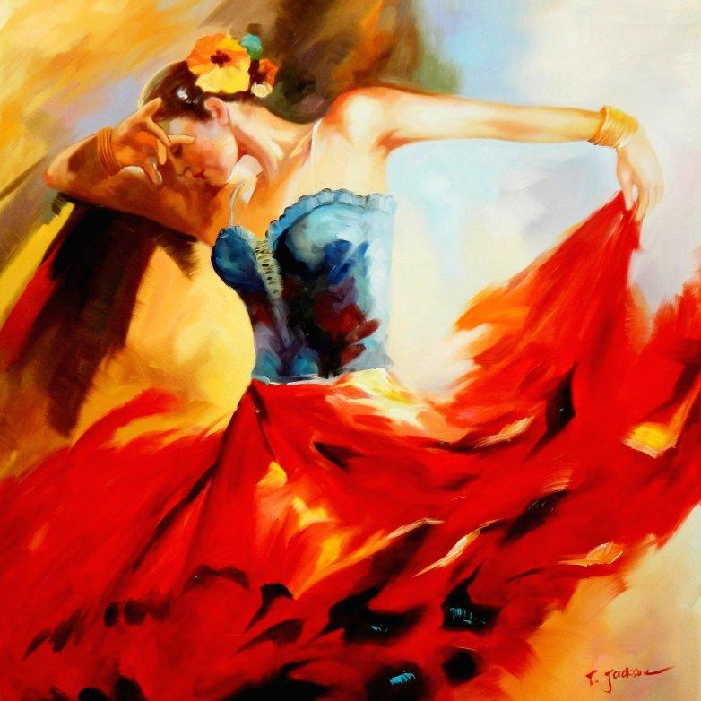 Modern Art - Feuer des Flamenco g95608 80x80cm stilvolles Ölgemälde
